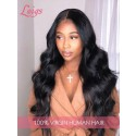 HD Lace Malaysian Virgin Hair Pre-Plucked Natural Hairline Wavy Wig With Baby Hair 360 Lace Frontal Wig [LWIGS201]