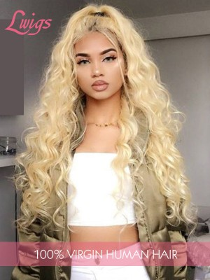 613# Blonde Deep Curly Virgin Brazilian Human Hair Wigs Full Lace Wigs With Baby Hair
