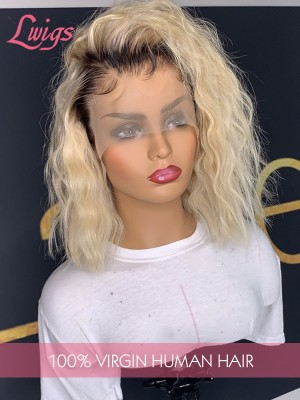 613 Blonde Color Curly Bob Hair Style T1b/613 Brazilian Virgin Human Hair Lace Front Wigs LWigs36