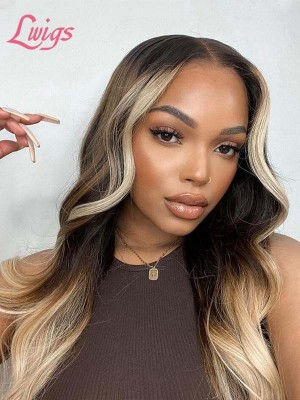 Blonde Highlights Body Wave Style Invisible HD Lace Wig Sliky Soft 100% Unprocess Brazilian Virgin Human Hair Glueless Dream HD Lace Front Wig Lwigs35