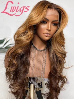 10A Ombre Blonde Highlights Natural Wavy Virgin Human Hair 360 Lace Frontal Wigs HD Lace Wig Pre Plucked Hairline Lwigs350