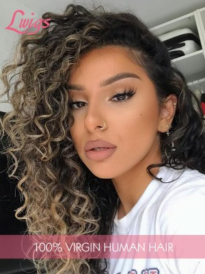 Bright Ombre Color Glueless HD Lace Wig Sexy Curly Hair With Hightlight 6'' Deep Parting In Front Virgin Human Hair Full Lace Wig Lwigs303