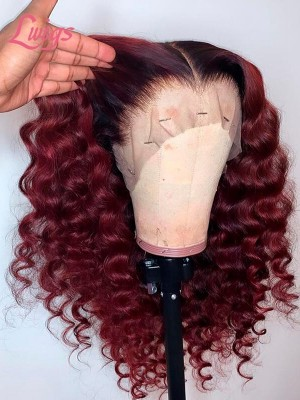 Burgendy Red Wine Color Glaming Deep Wave Curls Glueless Wig Dream HD Lace With Plucked Hairline 360 Lace Wig Beginners Friendly Lwigs363 (1)