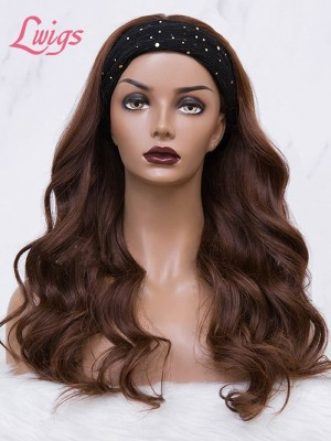 Chocolate Brown Headband Wave Wig 100% Brazilian Virgin Human Hair Lace Wig Body Wave Hair Lwigs380