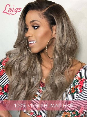 "Free Shipping Ombre 1b/6# Body Wave 6"" Deep Part Virgin Brazilian Human Hair 13x6 Lace Front Wigs [LWigs212]"
