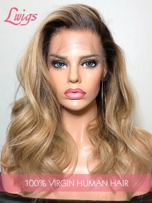 HD Lace Sexy Body Wave Ombre Blonde Color 10A High Quality 13x6 Lace Front Wig With Fake Scalp Lwigs300