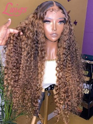 Invisible HD Lace Wig Ombre Highlight Color Curly Human Hair HD Lace Frontal Wig BF09