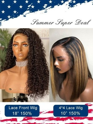 Independence Day Group Sale Brazilian Virgin Human Hair Full Lace Wig With High Light Bob Wig Pay 1 Get 2 Wigs Comb Sale ID04