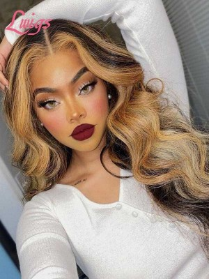 Invisible HD Lace Wig Highlight Color Glueless Wig Body Wave Style Volume Curls Brazilian Human Hair Lace Frontal Wig Lwigs402