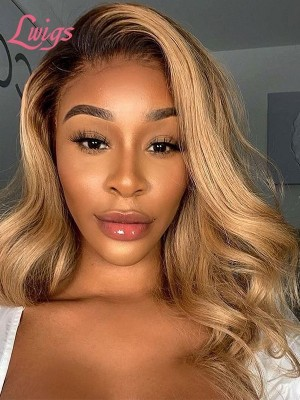 """Ginger Brown Color Lace Front Wigs With Pre-plucked Hairline 100% Virgin Hair Natural Wavy Hair 6"""" Deep Part Ombre Wig Lwigs54"""