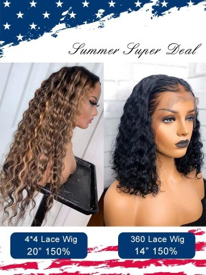 New Arrival High Light Color Deep Wave 44 Silk Base Closure Wig With 360 Lace Wig Comb Sale For Independence Day Lwigs Super Deal ID03