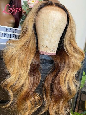 New Hair Trends Ombre Color Body Wave Wig HD Lace Frontal Wig With Pre-plucked Hairline Lwigs313