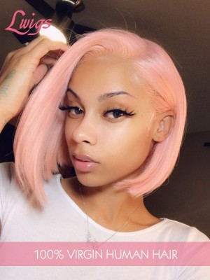 Brazilian Virgin Hair Pink Color Short Bob Hair Style Straight Lace Front Wigs [LWIGS230]