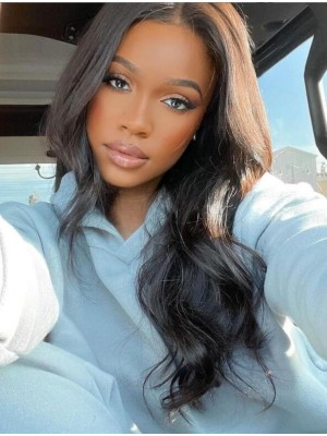 Brazilian Virgin Human Hair Lace Front Wig Bleached Knots Silky Straight Middel Part Human Hair Wigs LWigs39