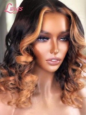 Summer Short Hair Highlight Color 13*6 Lace Frontal Wig Natural Wave Glueless Wig For Beginners Lwigs357