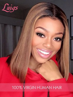 T1B30 Ombre Color Straight Short Bob Wig 150% Density Medium Brown Lace Full Lace Wig Lwigs304