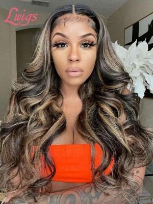 U Part High Light Color Peruvian Virgin Human Hair Pre-Plucked Hairline With Babe Hair Body Wave U Part Lace Front Wig LWigs56
