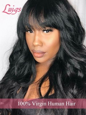 Undetectable HD Lace 100% Virgin Hair Pre-plucked Hairline Single Knots 360 Lace Wig With Bangs Lwigs320