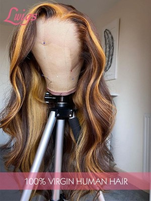 Undetectable HD Lace Honey Blonde Highlights Hair 360 Lace Wig Body Wave Pre Made Frontal Wigs Lwigs373