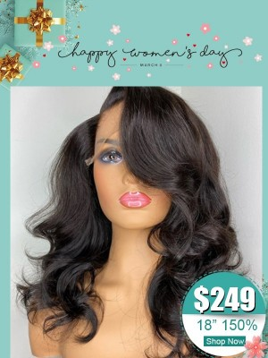 Women Day's Classic Black Body Wave 360 Lace Wig Undetectable HD Lace 100% Virgin Human Hair Wig Wavy Hair HD Lace Bleached Knots WD01