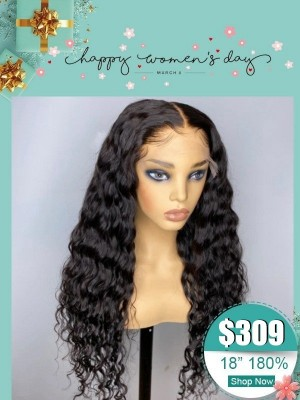 Women Day's Tiny HD Swiss Lace Front Deep Curly Brazilian Virgin Human Hair Wigs Undetectable HD Lace Wig Pre Plucked Hairline Single Knots WD03