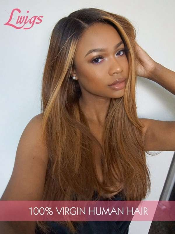 100% Unprocessed Brazilian Virgin Human Hair Ombre Color Pre-Plucked Hairline With Undetectable HD Lace Silky Straight 360 Lace Wig With Baby Hair  LWigs51