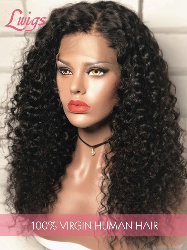 100% Virgin Human Hair 4x4 Lace Closure Wig Curly  Lace Wig For Black Women Lwigs310