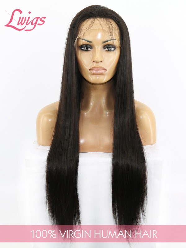 Grade 7A Glueless Full Lace Human Hair Wigs Cheap Brazilian Straight Human Hair Wigs for Black Women LWigs132