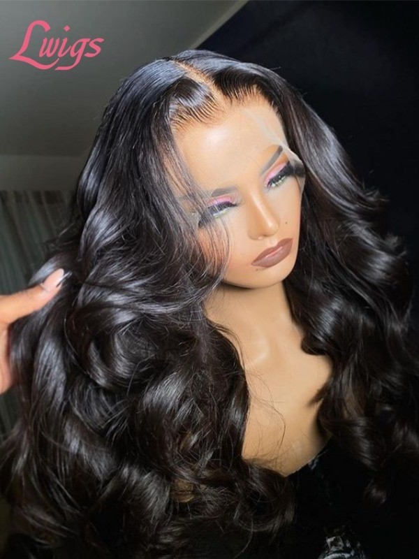 Glueless 13x6 HD Lace Wig Body Wave Silky Human Hair Lace Frontal Wig Pre Plucked Hairline MD06