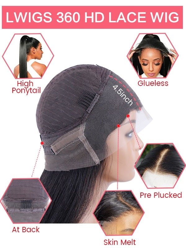 Silky Straight free shipping Indian remy hair pre plucked natural hairline 360 lace wigs LWigs176
