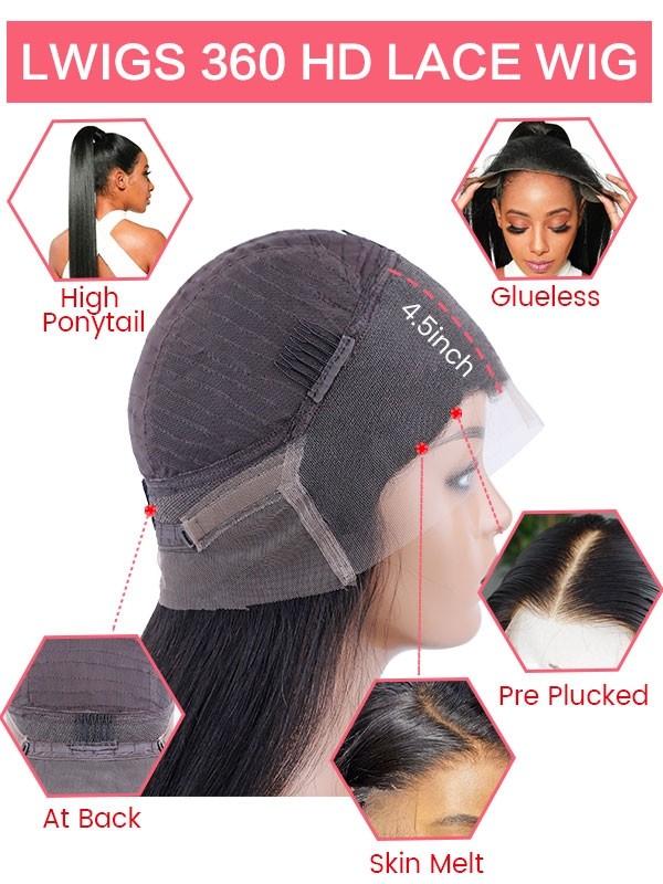Glueless Pre-plucked Hairline Peruvian Virgin Hair HD Dream Swiss Lace Body Wave Human Hair Wigs 360 Lace Wigs [LWIGS190]