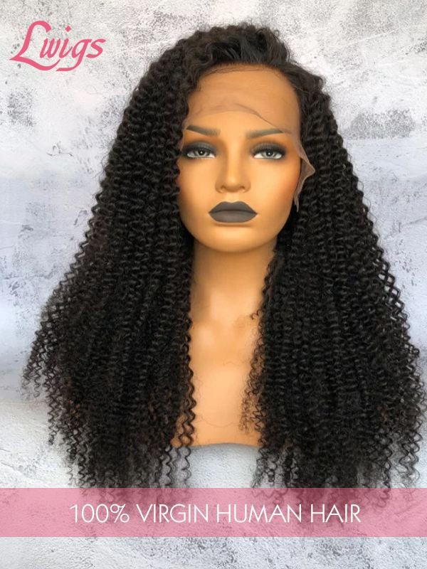 HD Lace Thick Virgin Malaysian Hair Kinky Curly Fake Scalp 360 Lace Wigs Human Hair Wigs For Black Woman Lwigs143