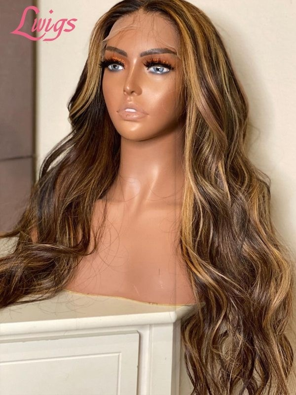 2020 New Highlight Color Wavy 100% Virgin Human Hair 136 Lace Front Wig With Undetectable HD Lace Single Knots Lwigs362