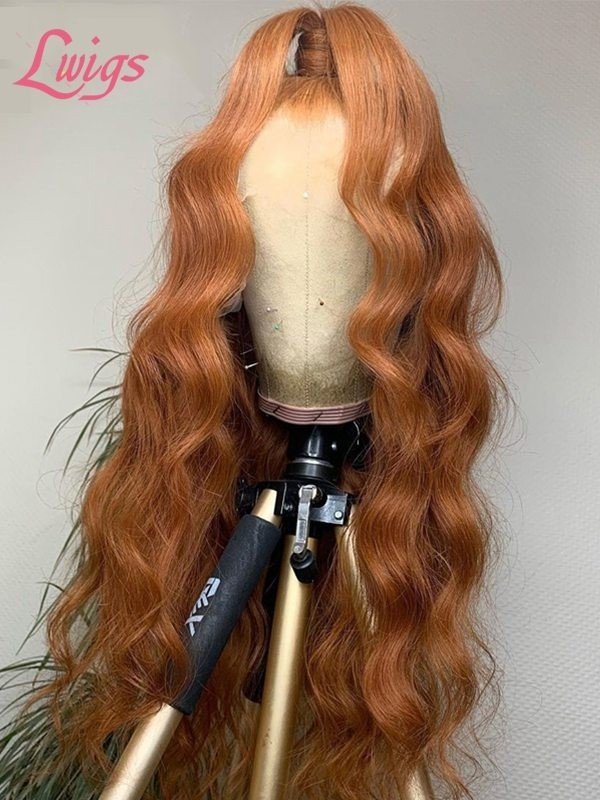 2020 New Undetectable HD Lace Orange Color Wavy Straight Bleached 360 Lace Fro3ntal Wig Free Parting With High Ponytail Lwigs383