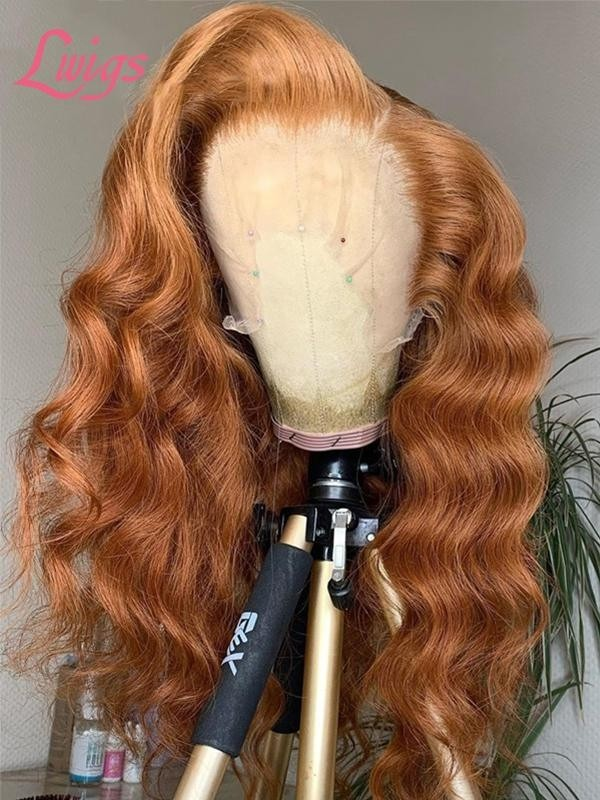 2020 New Undetectable HD Lace Orange Color Wavy Straight Bleached 360 Lace Frontal Wig Free Parting With High Ponytail Lwigs383