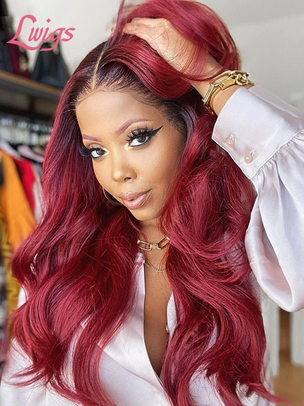 2021 Burgundy Ombre Color Virgin Hair Raw Lace Frontal Wig  Wavy Hairstyle For Beginners Lwigs409