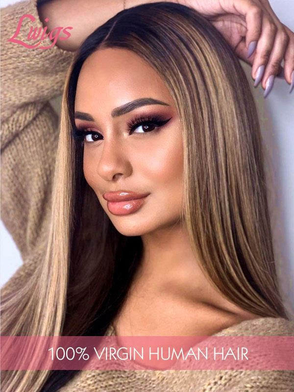 Brazilian Virgin Human Hair Silk Straight Ombre Color Undetectable HD Lace Lace Front Wigs Lwigs295