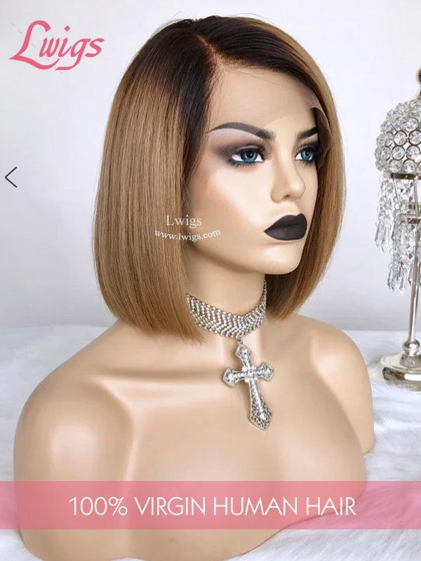 2019 Popular Blondish Short Blonde Bob Wig With Dark Roots Straight 13X6 Lace Front Wig Lwigs286