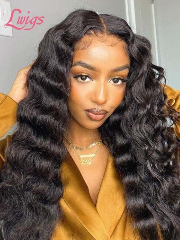 55 HD Lace Malaysian Virgin Human Hair Deep Wave Hair Style Undetectable HD Lace Front Wigs With Fake Scalp LWigs84