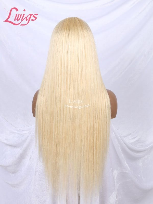 613# Blonde Straight Full Lace Wigs 130 Density Glueless Full Lace  Human Hair Wigs With Baby Hair LWigs71