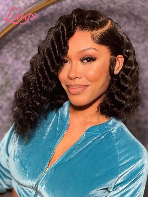 """6"""" Deep Part Lace Front Wig Peruvian Virgin Human Hair Glueless Short Curly Lace Front Wig Lwigs253"""