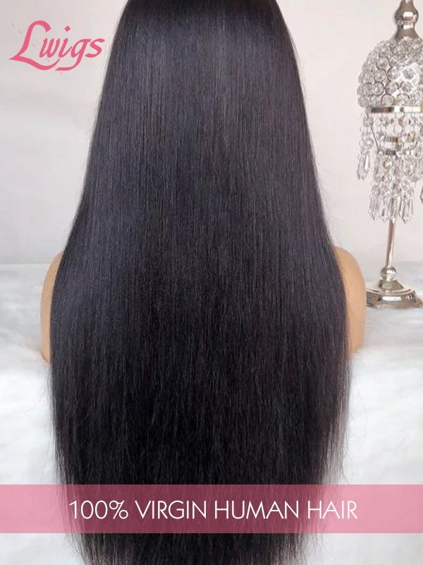 8A Brazilian Virgin Human Hair 13X6 Lace Front Wigs Light Yaki Natural Color Lace Front Wig for Black Women Lwigs163