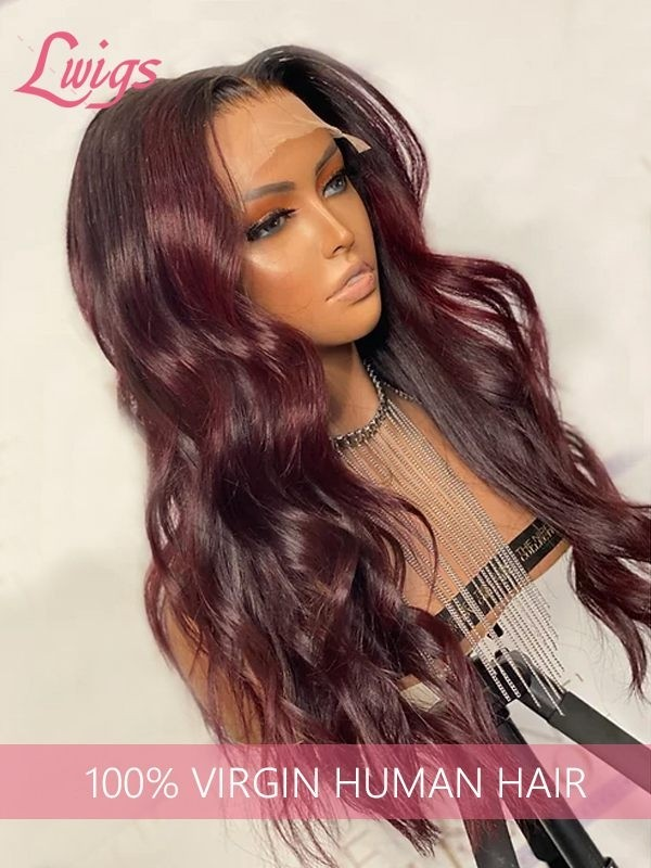 #99J Dark Burgundy Color Hair Straight Wavy Brazilian Virgin Human Hair HD Lace 136 Lace Front Wigs LWigs161