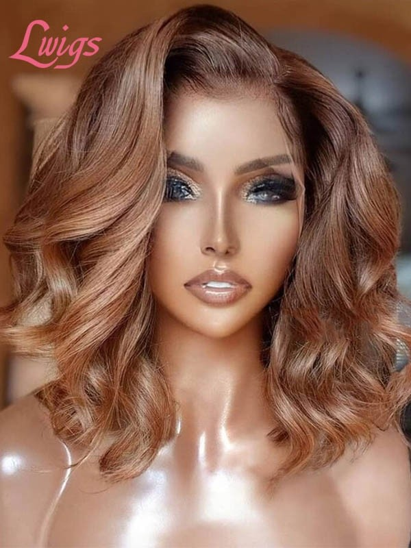 Ash Blonde Ombre Color Preplucked Natural Hairline Short Bob Natural Wave HD Lace Frontal Wigs For Beginners Lwigs228