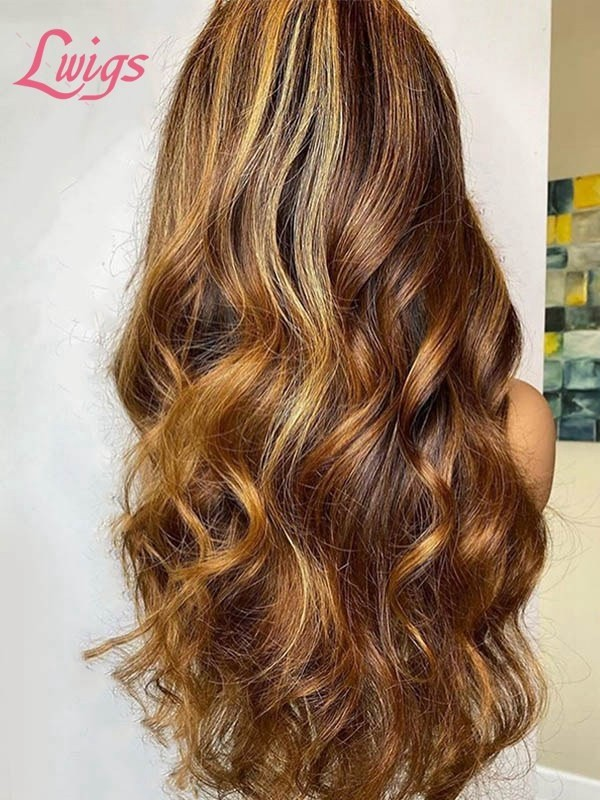 Black Friday 2020 Ombre Brown Highlights Body Wave Style Soft Texture Virgin Hair Lace Frontal Wig BF10