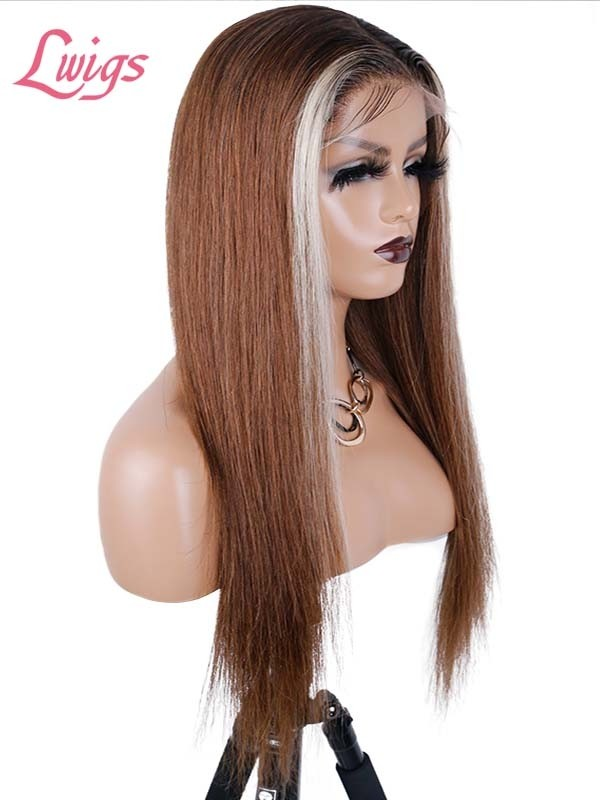 Blonde Highlights Pre Made Hairline Lace Frontal Wig Dream HD Lace Wig Virgin Hair Honey Brown Lwigs416