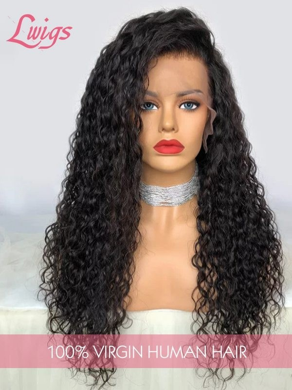 Hot Selling Virgin Brazilian  Human Hair  Wigs Undetectable HD Lace Deep Wave 360  Lace  Wigs  With Pre-Plucked Hairline For Black Women LWigs83