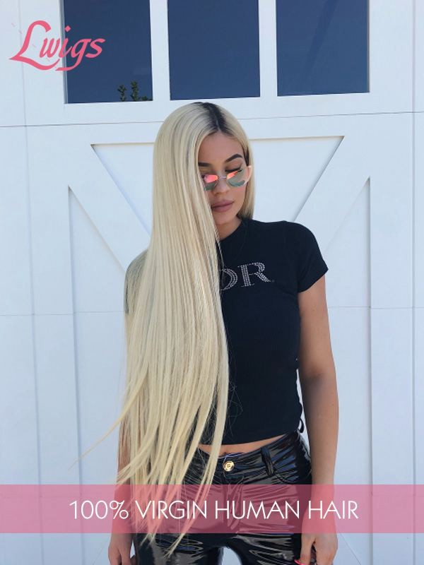 Long Hair Silk Straight Blonde Ombre Color Pre-Plucked Hairline Lace Front Wigs [LWIGS97]
