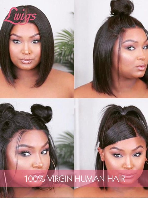 Brazilian Virgin Hair Black Color Short Bob Style Straight 13x6 Lace Front Wigs [LWIGS226]