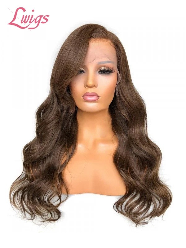 Chestnut Medium Brown Big Body Wave Brazilian Virgin Human Hair Frontal Lace Wigs Single Knots In The Front With Natural Hairline Pre Plucked Lwigs349